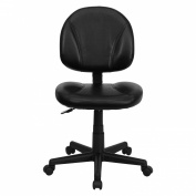 Leather Ergonomic Task Chair with Seat-Height Adjustment, Black