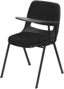 Padded Black Ergonomic Shell Chair with Left Handed Tablet Arm