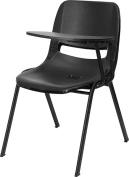 Flash Furniture Black Ergonomic Shell Chair w/ Left Handed Flip-Up Tablet Arm - RUT-EO1-BK-LTAB-GG