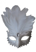 White and Silver Carnival Eye Mask Adult Halloween Accessory