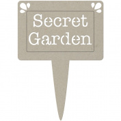Fabscraps DC47026 Die-Cut Grey Chipboard Word-Secret Garden Pot Plant Tag 5 in. x 3.5 in.
