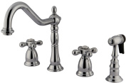 Double Handle Widespread Kitchen Faucet with Brass Sprayer