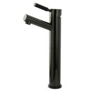 Water Onyx Black Nickel Single Handle Vessel Sink Faucet With Anti-Slide Handle Sleeve Less Pop Up & Plate