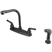Kingston Brass NB750SP Water Onyx 20cm Centerset Kitchen Faucet with Lever Handle and Matching Sid