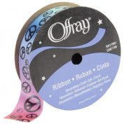 Offray 1475 7-8-1000 Scatter Peace Sign Ribbon 7-8 in. 9 Feet-Rainbow