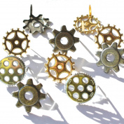 Eyelet Outlet Shape Brads, Gears, 12-Pack Multi-Coloured