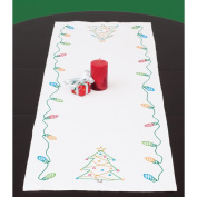 Jack Dempsey Christmas Stamped Table Runner, 38cm x 110cm
