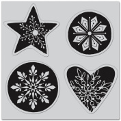 Hero Arts Cling Stamps-Snowflake Shapes - 4 Pieces