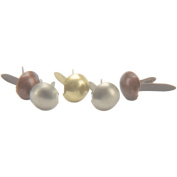 Mini Metal Paper Fasteners 3mm 100/Pkg-Round - Antique