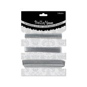 Ruby Rock-It BWT04 Wedding Trims 3 Meters-Pkg -3.28 Yards-Silver - 3 Styles-1 Meter Each