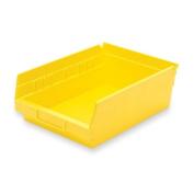 """Akro-Mils Shelf Bin,Grease/Oil Resistant,8-3/8""""x11-5/8""""x4"""",Yellow"""