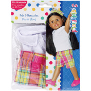 Fibre Craft Springfield Collection Polo/Bermuda's for Doll, Lavender Plaid