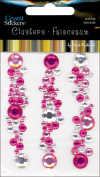 Mark Richards 477730 Crystal Stickers Clusters 3-Pkg-Round Light Pink-Hot Pink-Clear