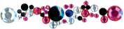 Mark Richards 477729 Crystal Stickers Clusters 3-Pkg-Round Clear-Hot Pink-Black
