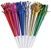 Party Horns, 24cm , 8-Pack, Assorted Colours