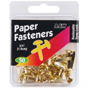 Paper Fasteners .190cm 50/Pkg-Gold
