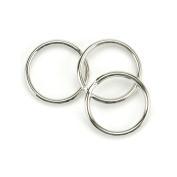 Leather Factory Split Key Ring, Nickel, 2.5cm - 0.6cm , 10/pkg