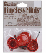 Timeless Miniatures-Red Pots & Lids 4/Pkg