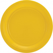 Big Party Pack Dinner Paper Plates 23cm 60/Pkg-Sunshine Yellow