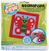 Butterfly Learn To Sew Needlepoint Kit-15cm x 15cm Red Frame