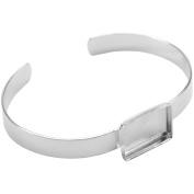 Base Elements Rectangle Banded Bracelet 11mmX17mm 1/Pkg-Silver Overlay