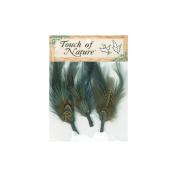Natural Feather Picks 3/Pkg-Dark Blue/Brown