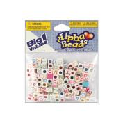 Alphabet Beads 6mm 160/Pkg-White W/Multicolor Letters