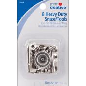 Dritz 14008 Heavy Duty Snap Kit 5-8 in. 8-Pkg-Nickel