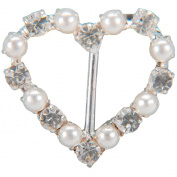 Vision Trims 93294 Genuine Rhinestone Buckle 38mm Heart-Silver-Pearl