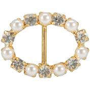 Vision Trims 93296 Genuine Rhinestone Buckle 35mm Oval-Gold-Pearl