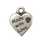 Embellishment Village 85809 Metal Charms 1-Pkg-Silver Made With Love Heart