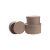 DCC 28-0013 Paper Mache Round Box Set Of 3-9 in. 7-3-4 in. 7 in.