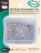 Dritz 83875 Brass Dressmaker Pins-Size 20 200-Pkg