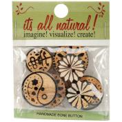 Handmade Bone Buttons-Carved Circle Designs 8/Pkg