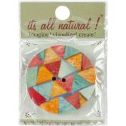 Handmade Bone Button-5.1cm Round Triangle Pattern 1