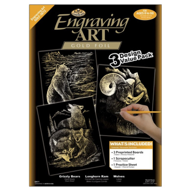 Engraving Art Value Packs 3/Pkg-Gold-Grizzly Bears