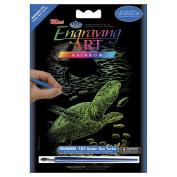 Royal Brush 422066 Mini Rainbow Foil Engraving Art Kit 5 in. x 7 in. -Undersea Turtle