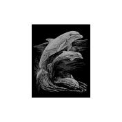 "Silver Foil Engraving Art Kit 20cm X10""-Dolphins"