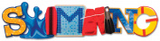 Karen Foster 389728 Swim Team Stacked Statement 3-D Title Sticker-Swimming
