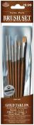 Royal Brush 325192 Brush Set Value Pack Gold Taklon 6-Pkg-Rnd 135 Filbert 4 Scrpt 1 Glz-Wsh 3-8 in.