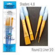 Royal Brush 270930 Crafters Choice Gold Nylon Acrylic Brush Set 4-Pkg-Round 2 Shader 4 8 Liner 3