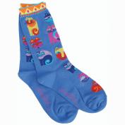 K Bell 86182 Laurel Burch Socks-Feline Festival -Blue