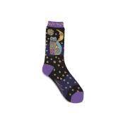 K Bell 85072 Laurel Burch Socks-Celestial Cat-Black