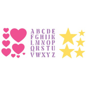 Simply Stencils Value Pack 20cm x 25cm 3/Pkg-Hearts/Alphabet/Stars