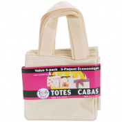 Loew-Cornell 384040 Totally You Mini Totes 6 in. x 5.5 in. 5-Pkg-Natural