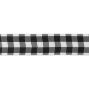 Offray Wired Bold Cheque Ribbon, 3.8cm , 2.7m, Black and White