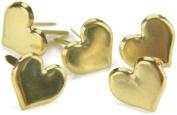 Metal Paper Fasteners 50/Pkg-Gold - Hearts