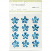 Self-Adhesive Flower Rhinestones 21mm 12/Pkg-Blue