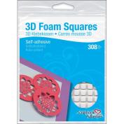 3D Permanent Foam Squares 308/Pkg-White, .63.5cm X.63.5cm