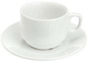 Kitchen Supply 8114 White Porcelain Cappuccino Cup and Saucer, 180ml